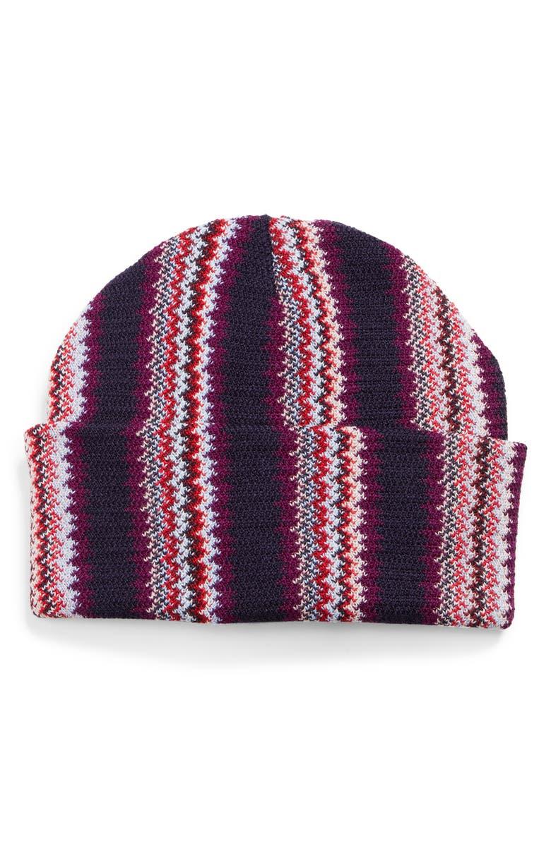 MISSONI Thick Stripe Zigzag Beanie, Main, color, BERRY MULTI