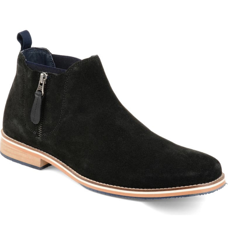 THOMAS AND VINE Smash Zip Chelsea Boot, Main, color, BLACK SUEDE