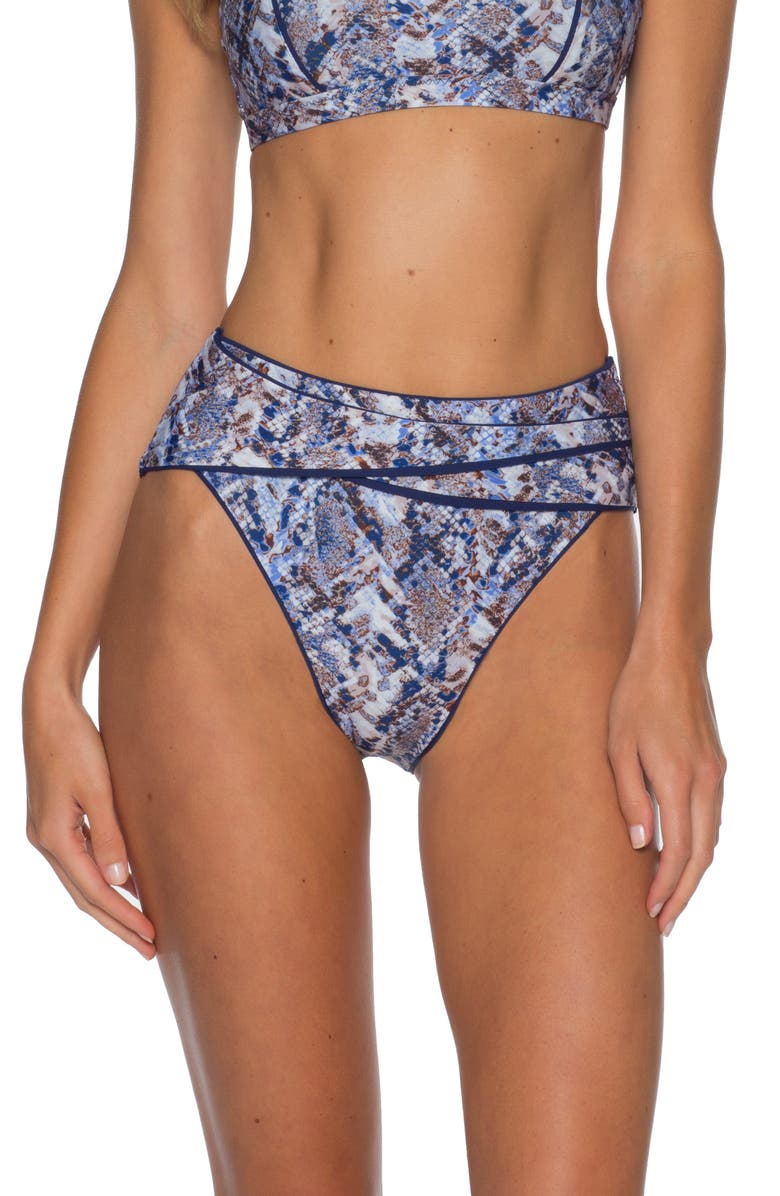 BECCA Animal Kingdom High Waist Bikini Bottoms, Main, color, PYTHON
