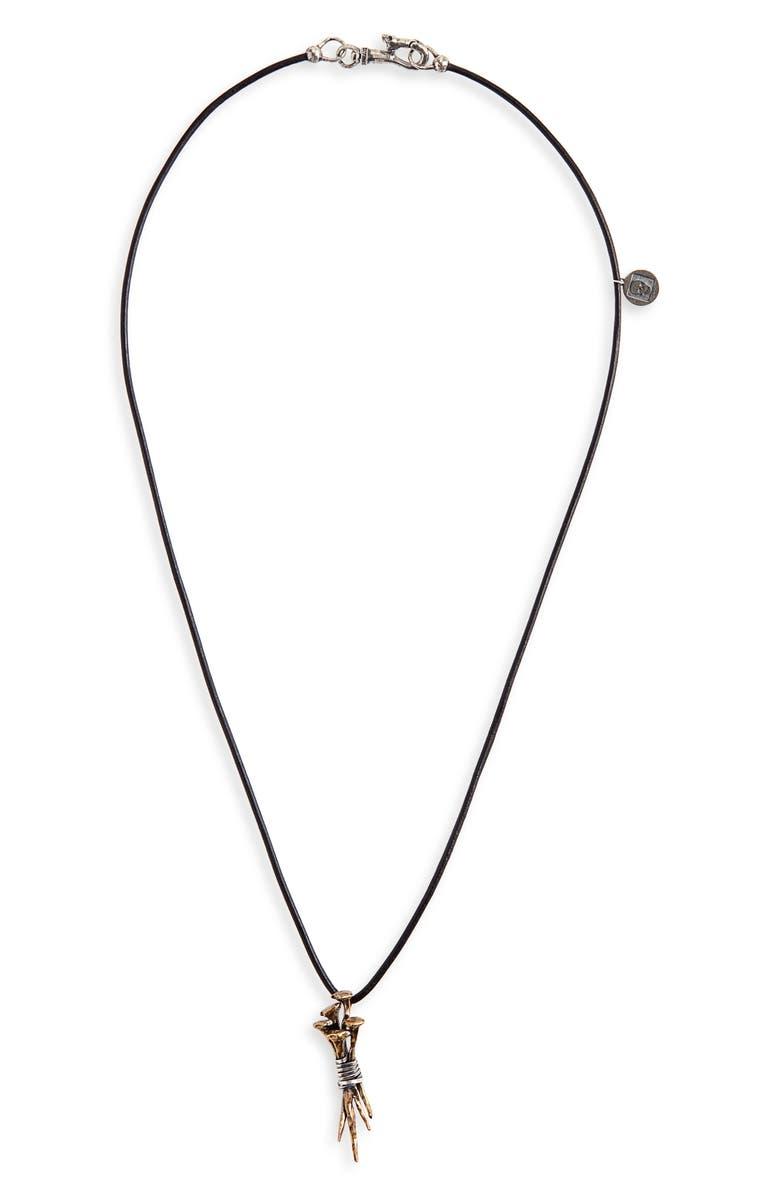 JOHN VARVATOS Wrapped Nails Pendant Necklace, Main, color, METALLIC GOLD
