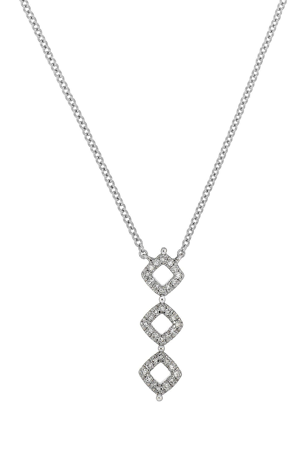 Image of Carriere Sterling Silver Pave Diamond Linear Pendant Necklace - 0.36 ctw