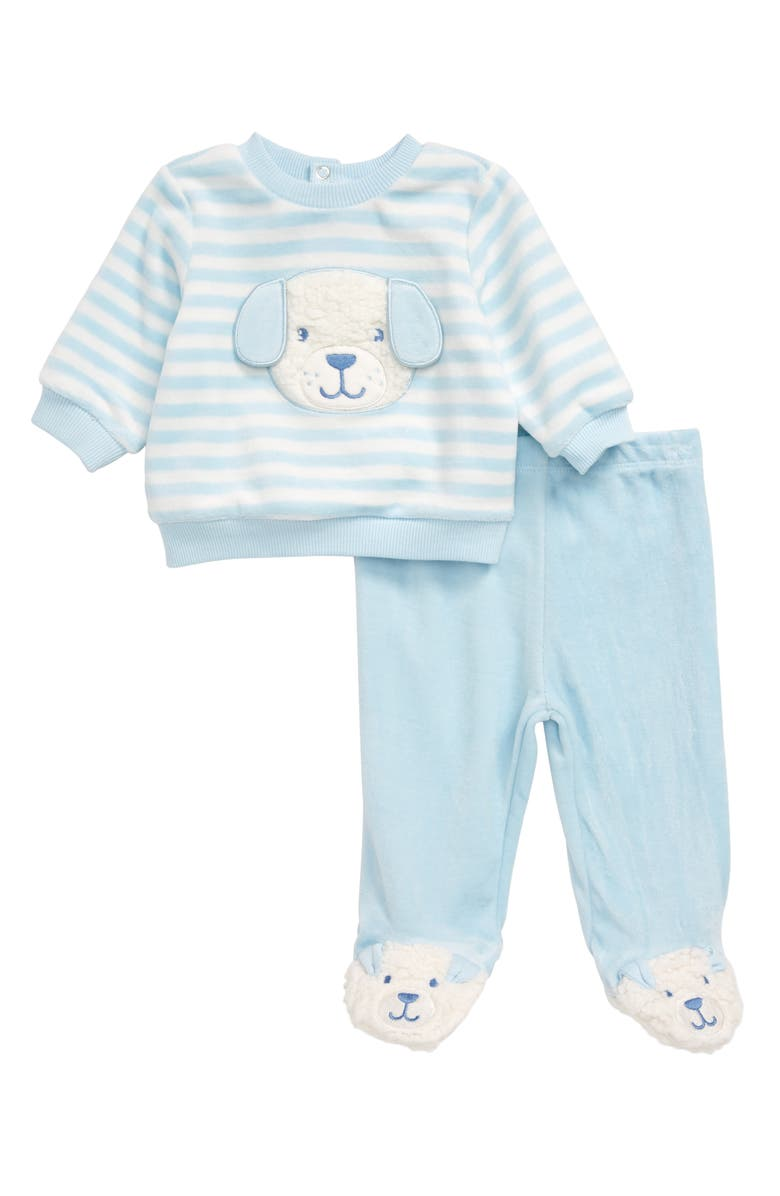 LITTLE ME Puppy Velour Sweatshirt & Footed Pants, Main, color, BLUE