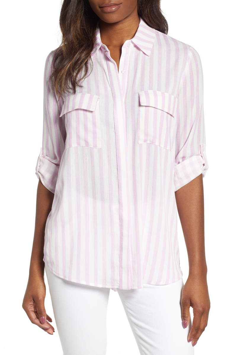 GIBSON x Hi Sugarplum! Scottsdale Oversize Button Down Tunic, Main, color, PEONY STRIPE