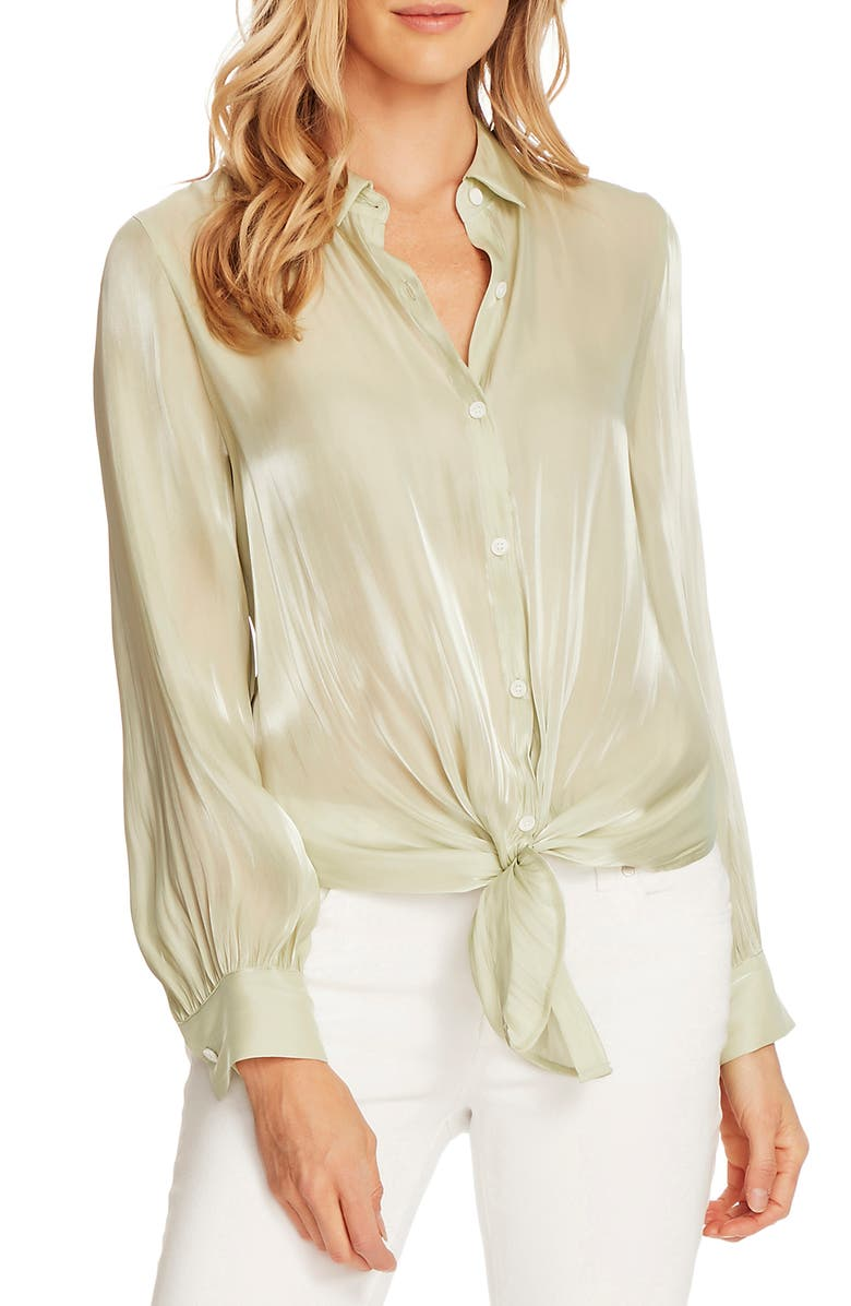 VINCE CAMUTO Tie Front Iridescent Blouse, Main, color, 336