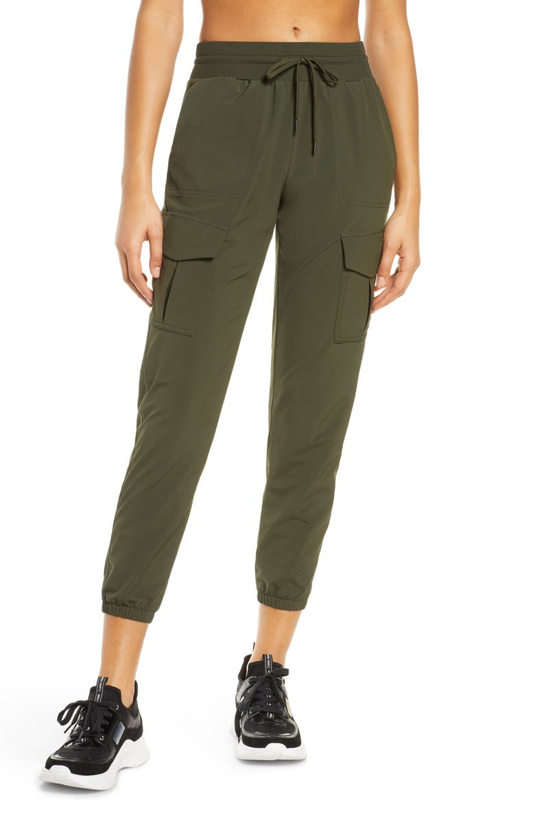 ZELLA Getaway Cargo Pants, Main, color, GREEN ROSIN