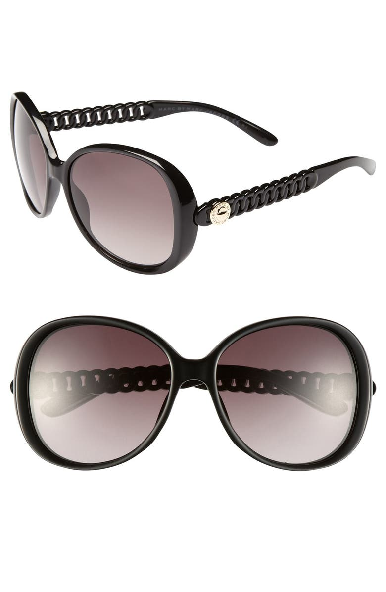 MARC BY MARC JACOBS 58mm Oversized Sunglasses, Main, color, 001
