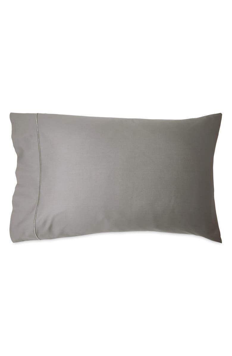 DONNA KARAN NEW YORK Indulgence Cotton & Silk Set of 2 Pillowcases, Main, color, GREY