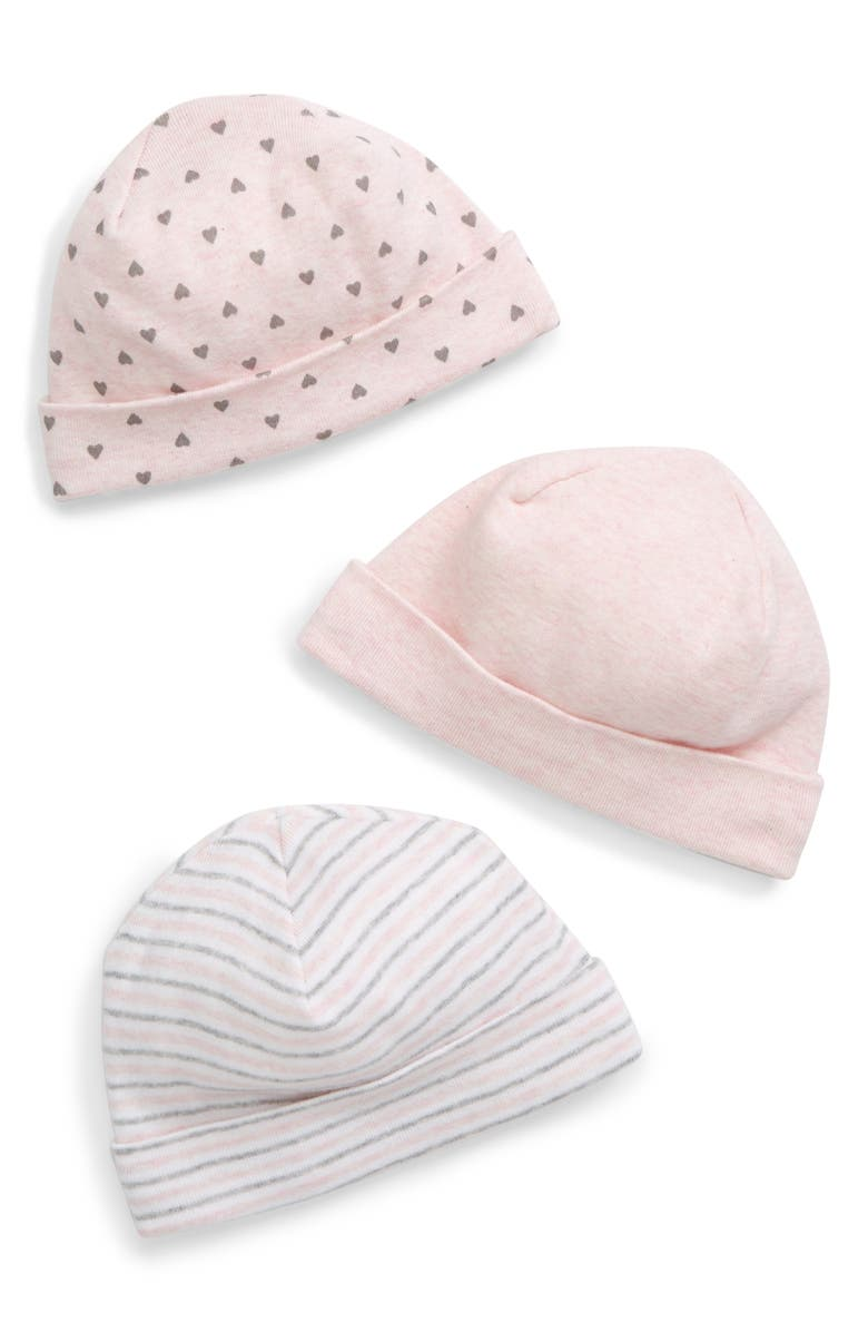 NORDSTROM BABY 3-Pack Hat Set, Main, color, PINK BABY MULTI PACK