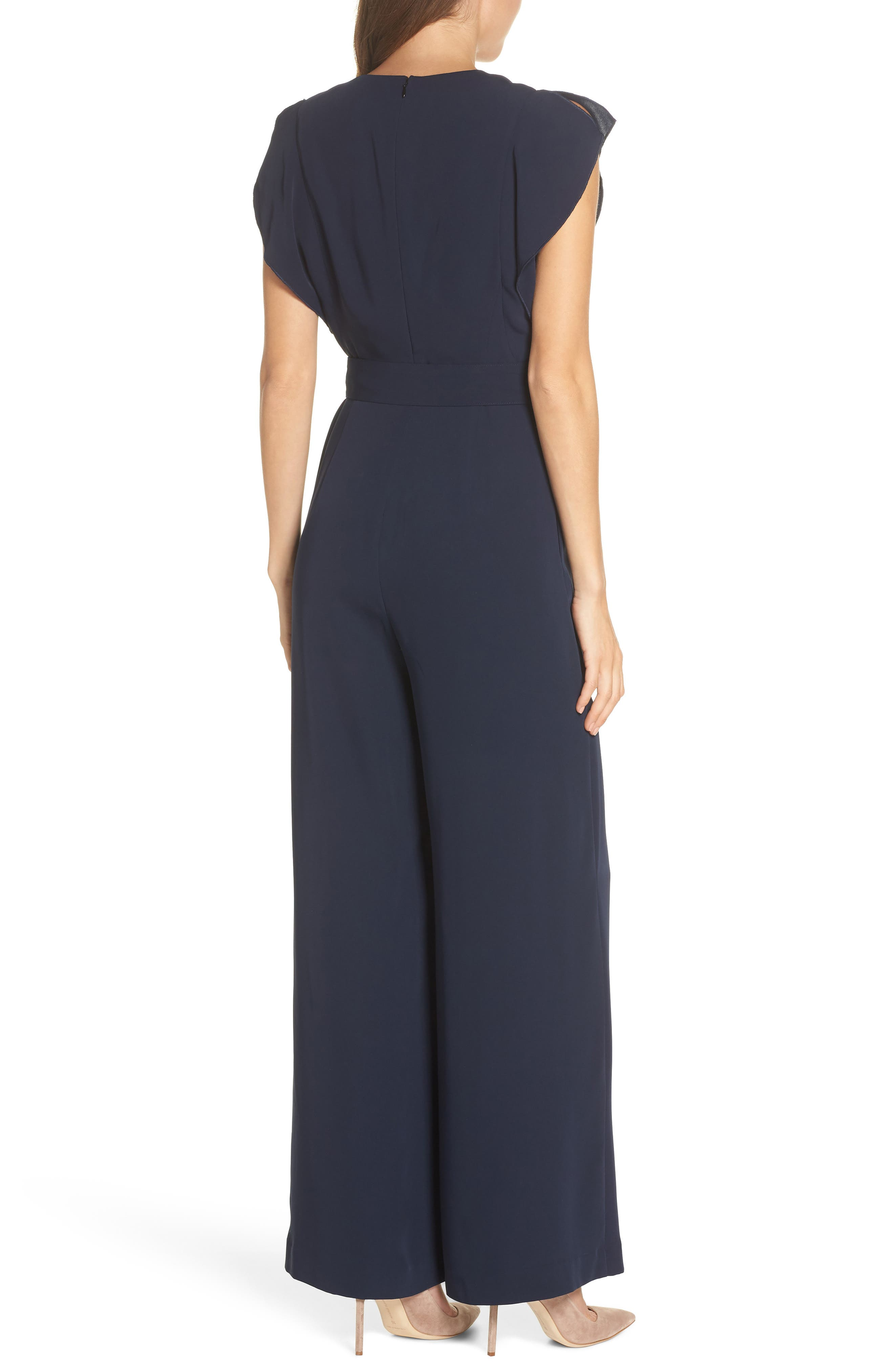 ,                             Flutter Sleeve Crepe Wide Leg Jumpsuit,                             Alternate thumbnail 2, color,                             NAVY