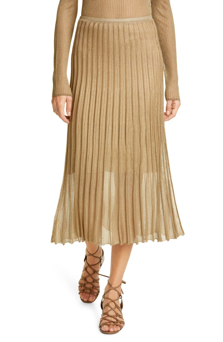 VINCE Pleated Metallic Knit Skirt, Main, color, 710
