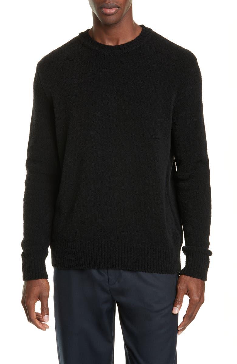 TRÈS BIEN Bouclé Knit Wool Blend Sweater, Main, color, BLACK