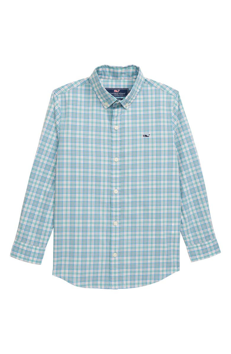 VINEYARD VINES Tartan Plaid Whale Shirt, Main, color, GREENWICH GREEN