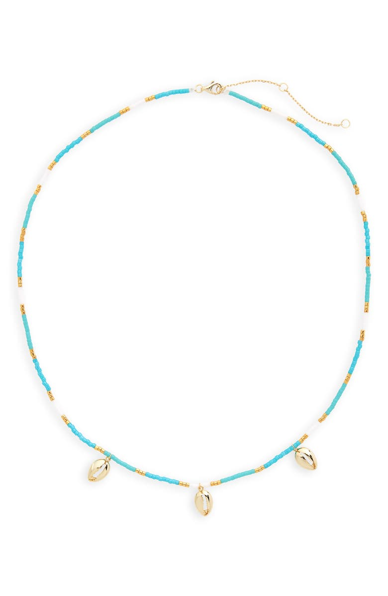 ARGENTO VIVO Seashell Charm Necklace, Main, color, BLUE
