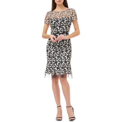Js Collections Floral Embroidered Cocktail Dress, Black