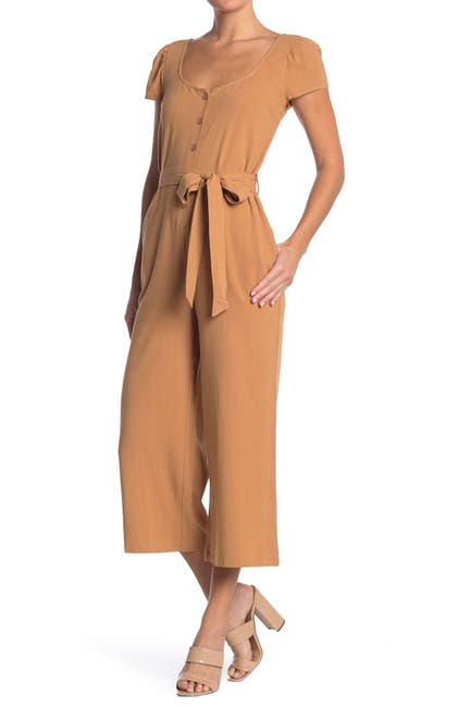 Image of Lush Button Cropped Cotton Jumpsuit