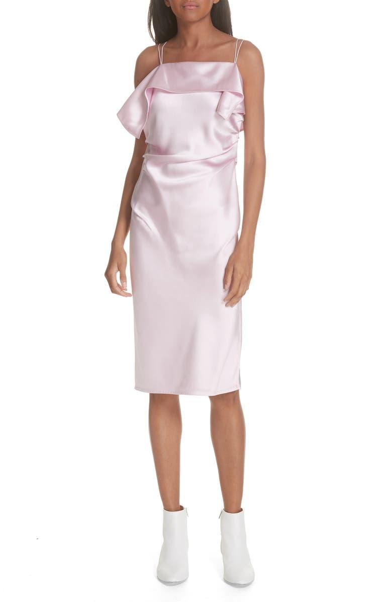 HELMUT LANG Drape Front Satin Dress, Main, color, 653
