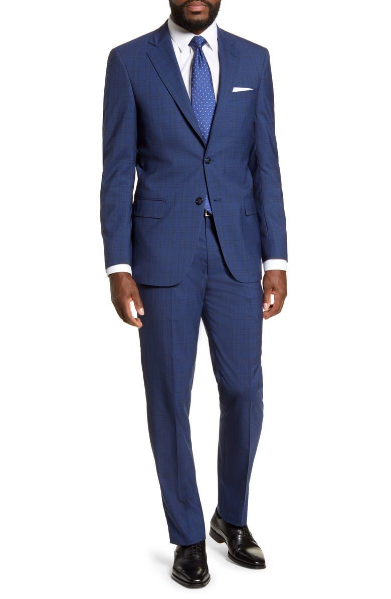 HART SCHAFFNER MARX Classic Fit Plaid Wool Suit, Main, color, DARK BLUE