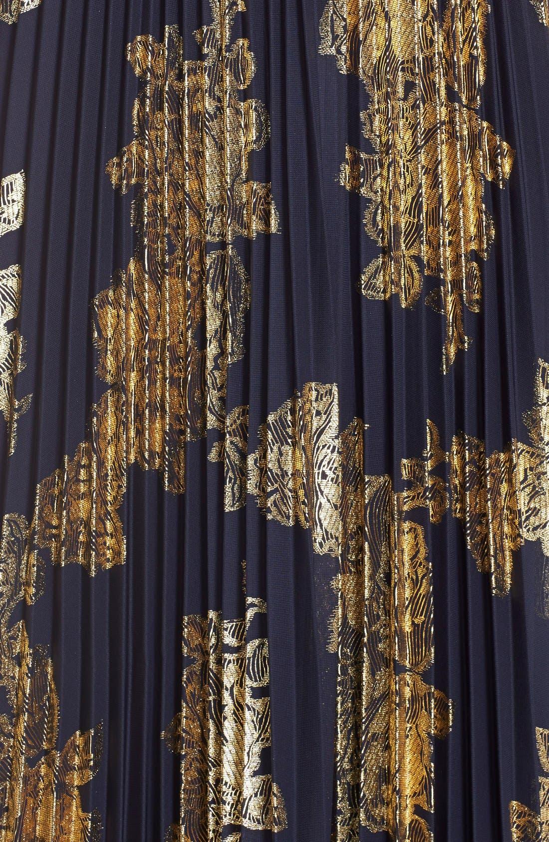 ,                             Foiled Pleated Jersey Blouson Dress,                             Alternate thumbnail 17, color,                             409