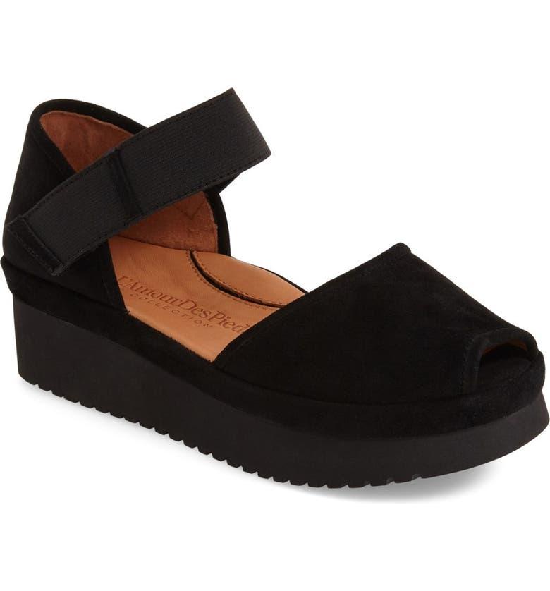 L'AMOUR DES PIEDS Amadour Platform Sandal, Main, color, BLACK SUEDE LEATHER