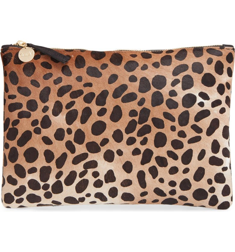 CLARE V. Genuine Calf Hair Leopard Print Zip Clutch, Main, color, 250