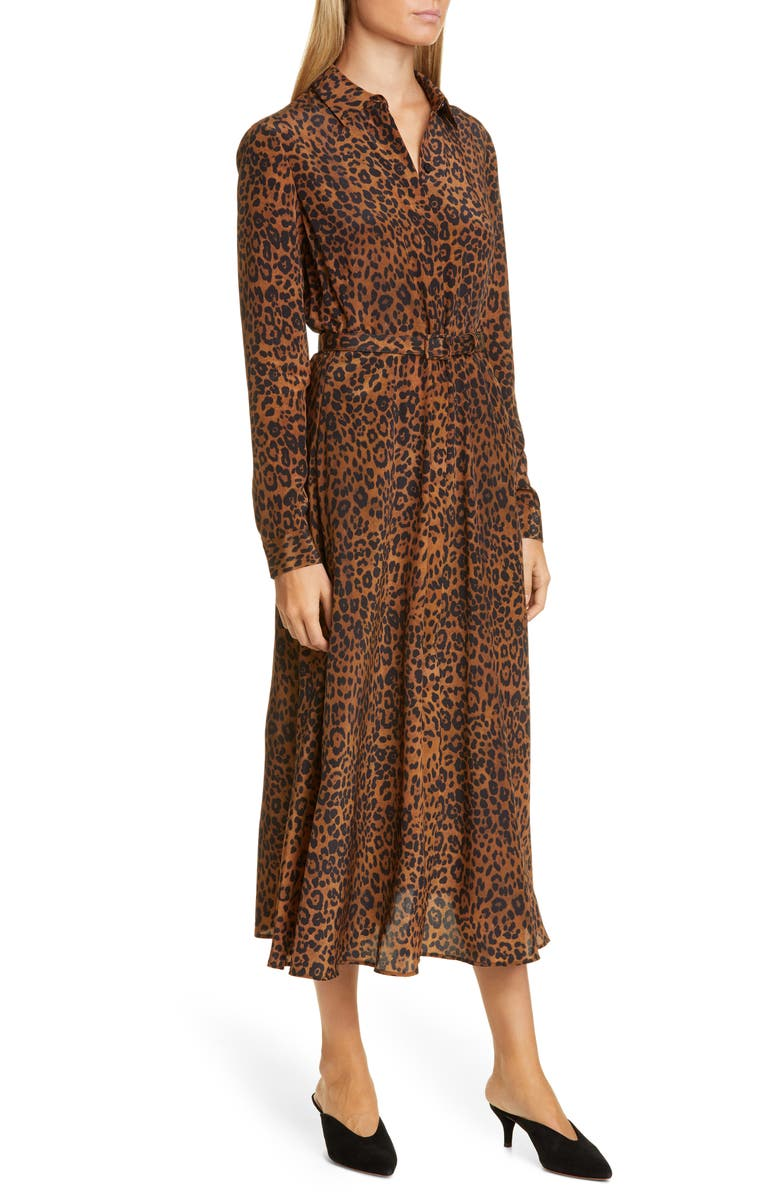 LAFAYETTE 148 NEW YORK Brittany Leopard Print Long Sleeve Silk Shirtdress, Main, color, TEAK MULTI