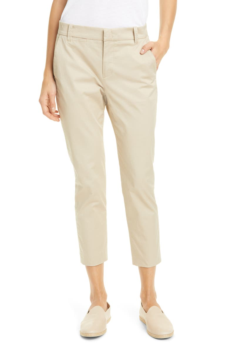 VINCE Coin Pocket Stretch Cotton Chino Pants, Main, color, LATTE
