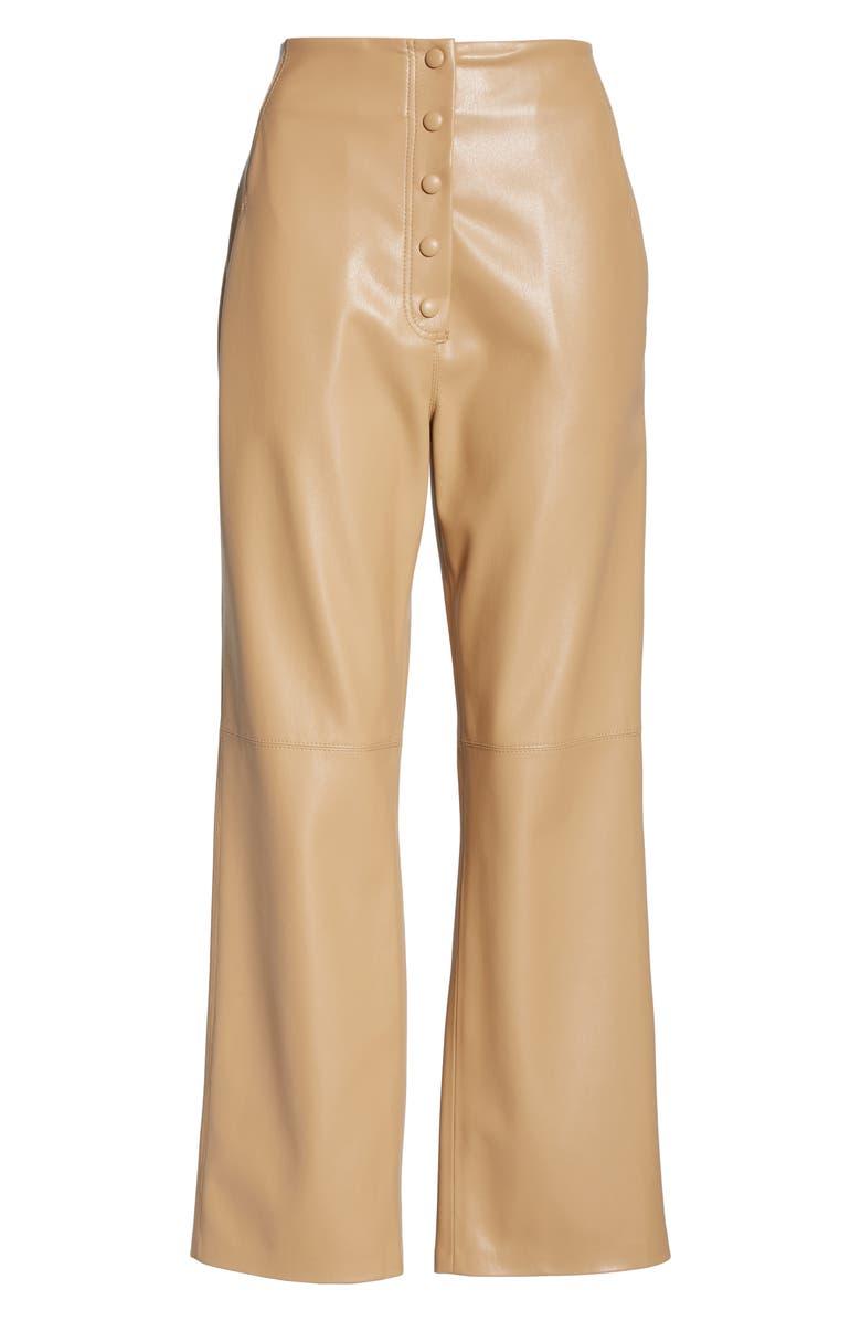 NANUSHKA Sora Faux Leather Crop Flare Pants, Alternate, color, PALE CARAMEL
