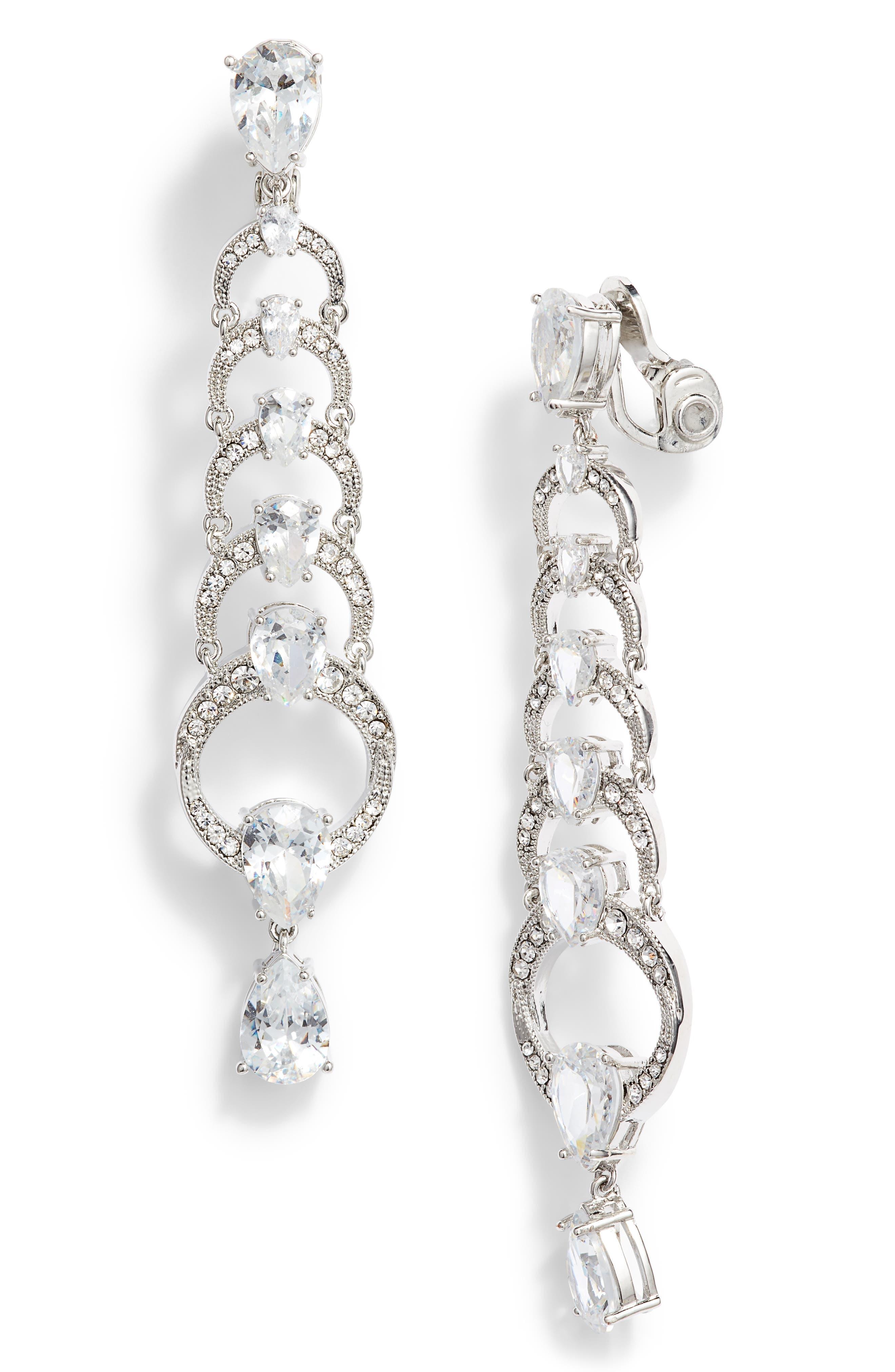 Graduated Crystal Linear Clip Earrings, Main, color, RHODIUM/ CRYSTAL