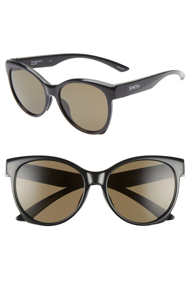 SMITH Fairground 55mm ChromaPop<sup>™</sup> Polarized Cat Eye Sunglasses, Main, color, 001