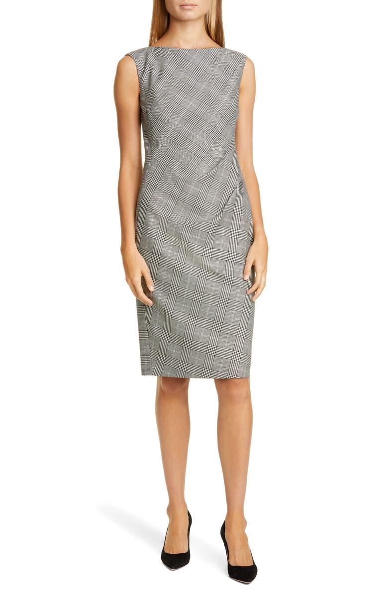 LAFAYETTE 148 NEW YORK Della Houndstooth Sheath Dress, Main, color, BLACK MULTI