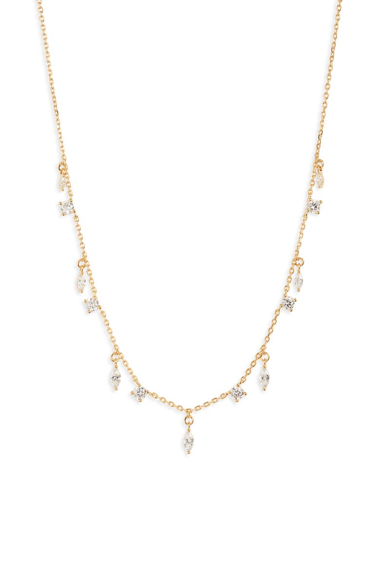 NORDSTROM Dainty Marquise Shaker Necklace, Main, color, CLEAR- GOLD