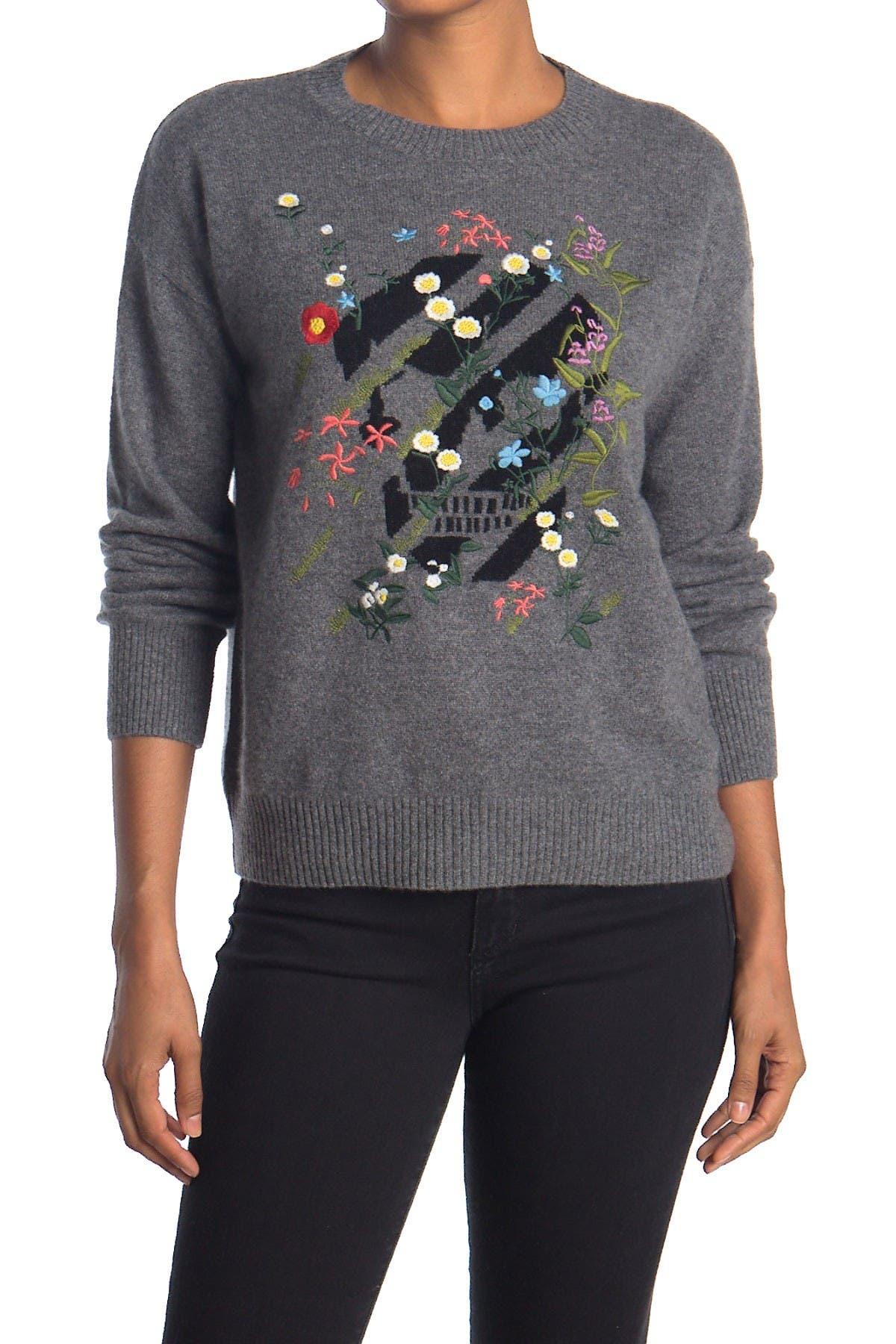 Image of SKULL CASHMERE Aji Floral Skull Print Cashmere Crew Neck Sweater