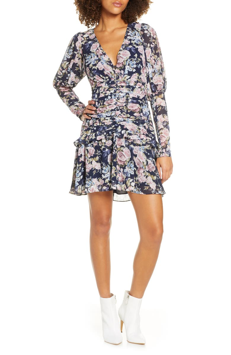 EVER NEW Long Sleeve Floral Minidress, Main, color, PRINT
