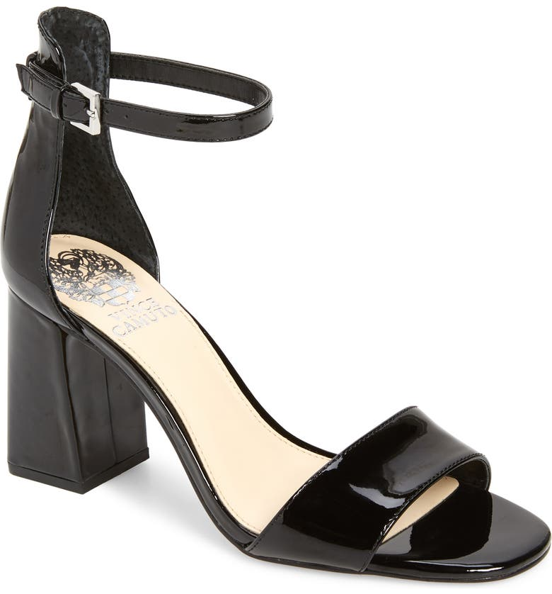 VINCE CAMUTO Winderly Ankle Strap Sandal, Main, color, BLACK GLOSS LEATHER