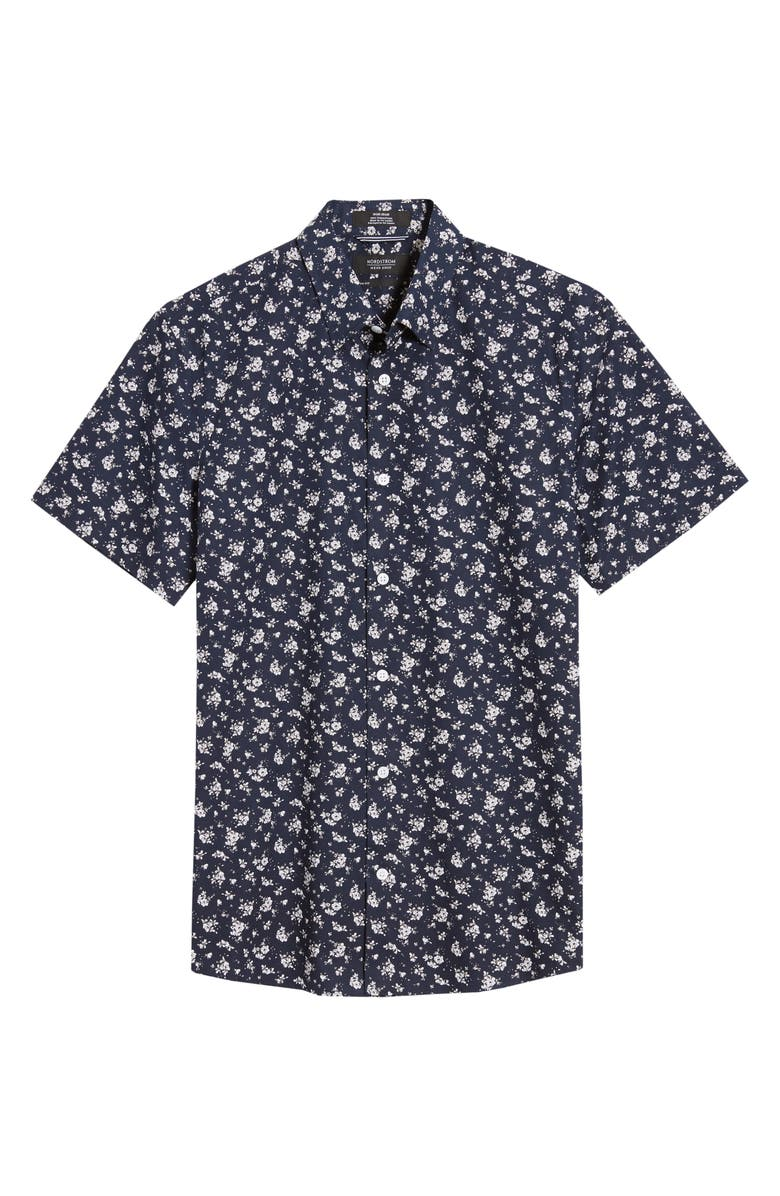 NORDSTROM MEN'S SHOP Trim Fit Floral Short Sleeve Non-Iron Button-Up Shirt, Main, color, NAVY BLAZER WHITE ROSES