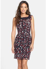 Adrianna Papell Floral Vine Embroidered A-line Dress