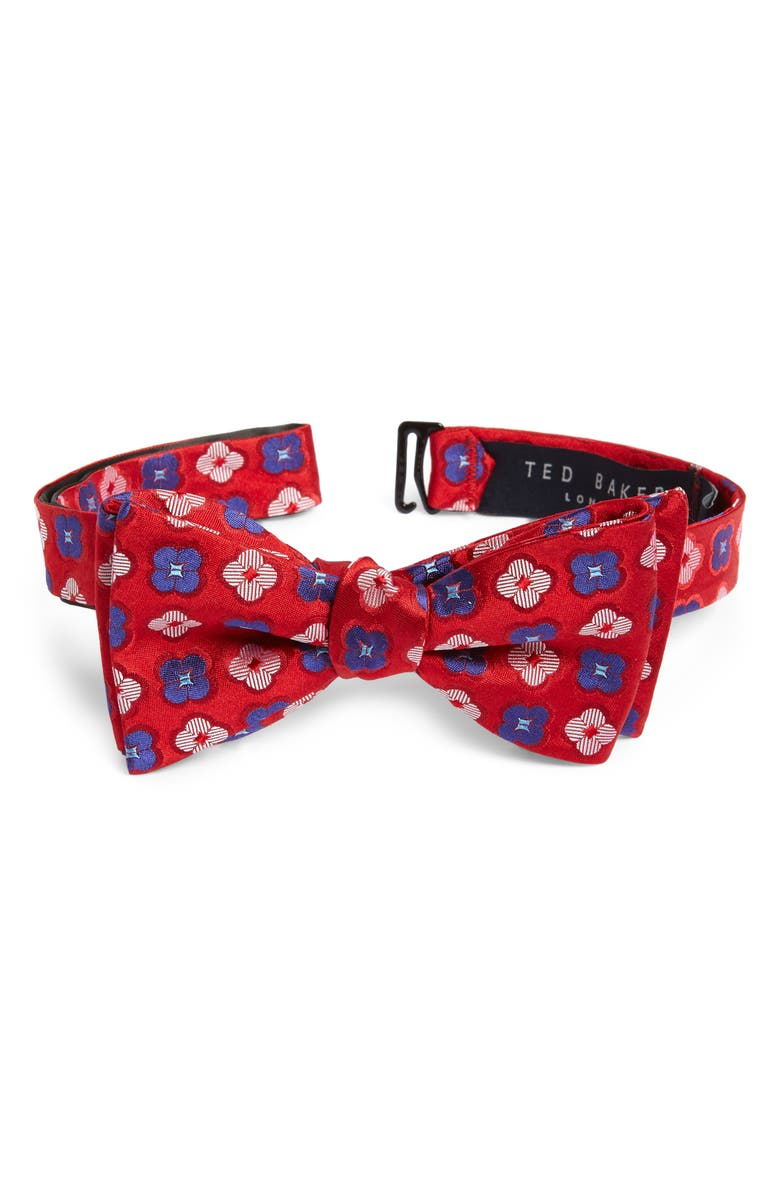 TED BAKER LONDON Floral Silk Bow Tie, Main, color, RED