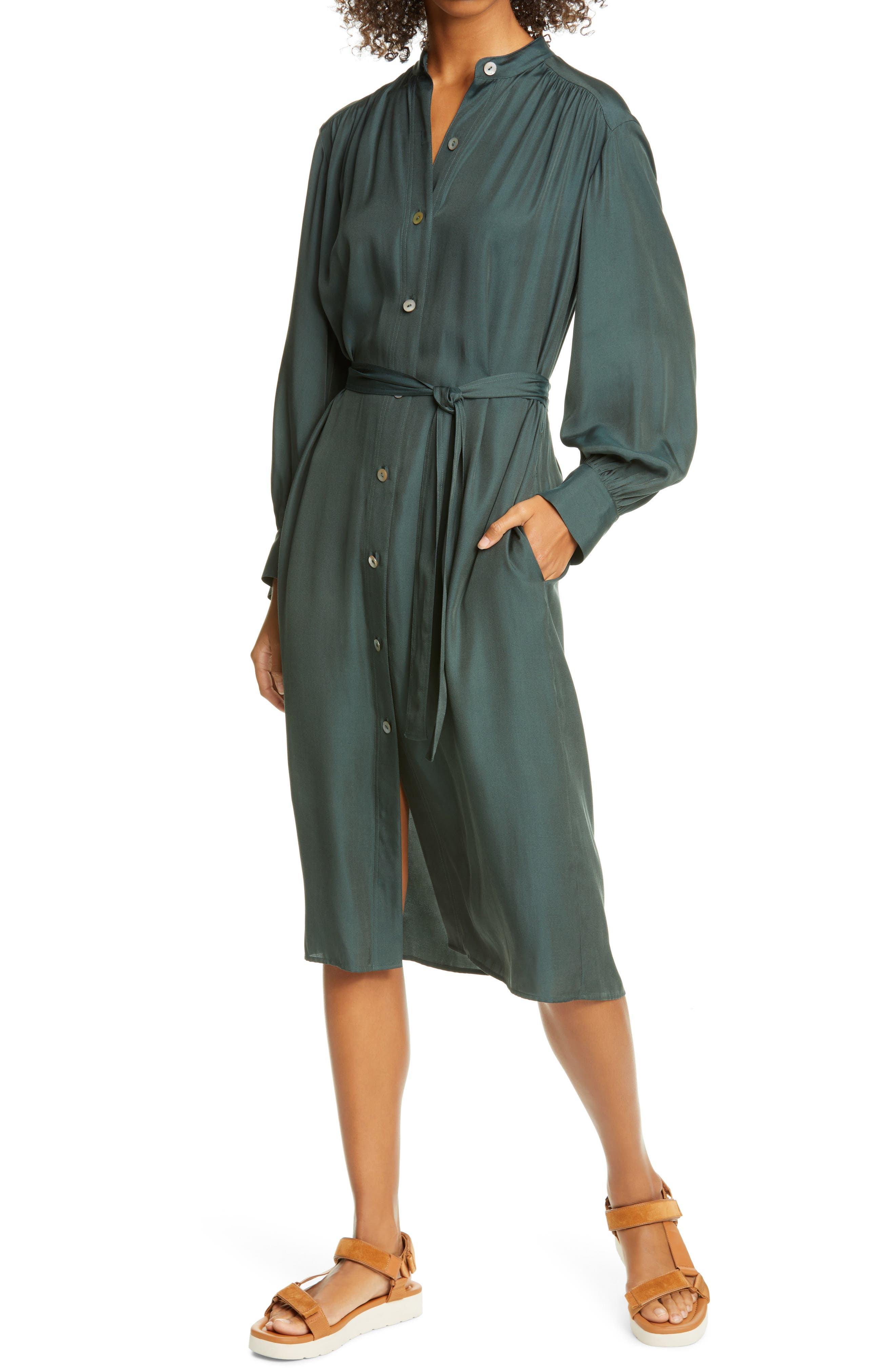 Vince Belted Long Sleeve Shirtdress | Nordstrom