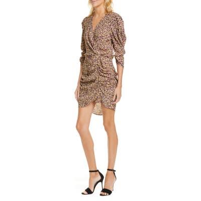 Ba & sh Crystal Print Faux Wrap Ruched Dress, Beige