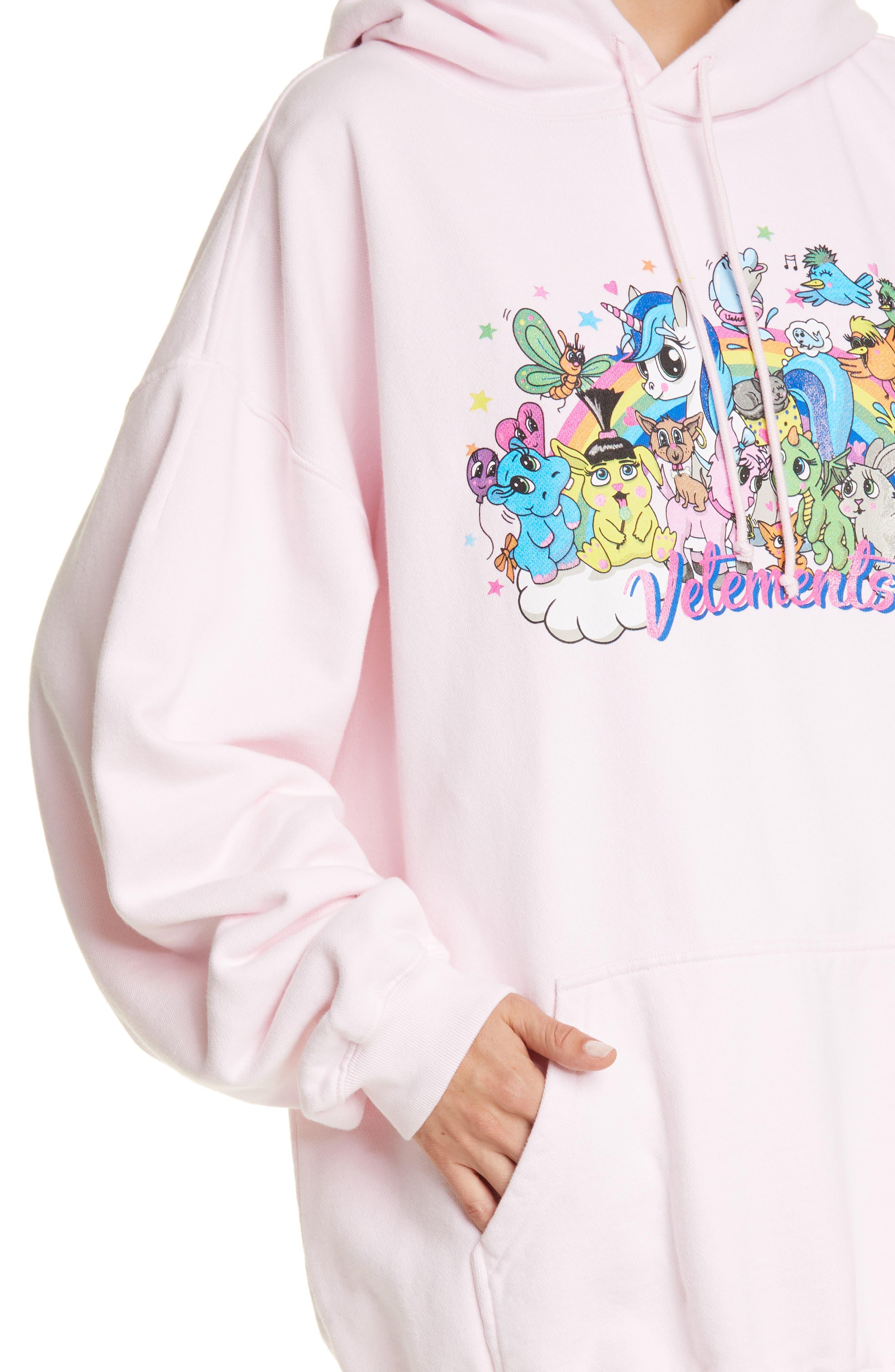 Vetements Tops Oversize Unicorn Print Cotton Hoodie