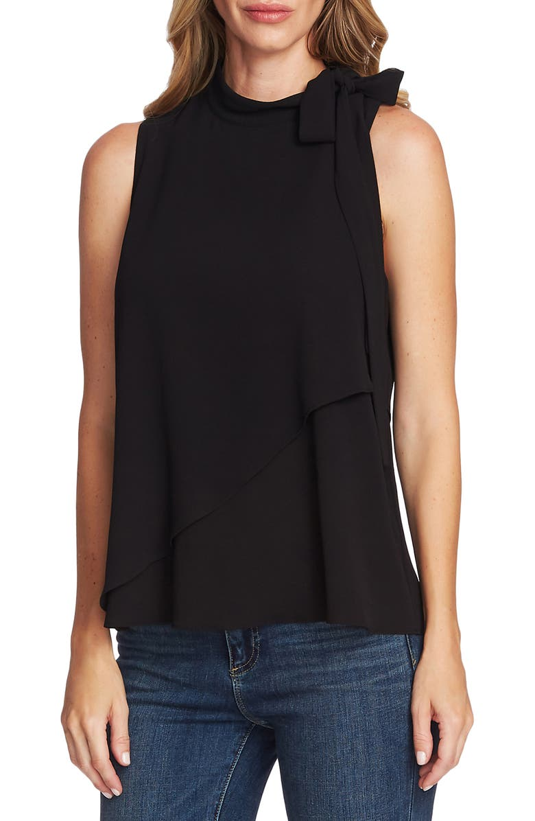 VINCE CAMUTO Sleeveless Tie Neck Top, Main, color, RICH BLACK