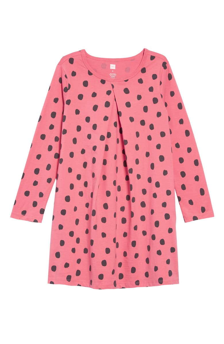 TEA COLLECTION Print Pleated Dress, Main, color, LEOPARD SPOTS/ PINK TULIP