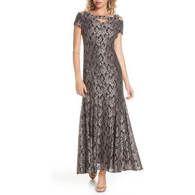 Morgan & Co. Lace Cold Shoulder Trumpet Gown, Grey