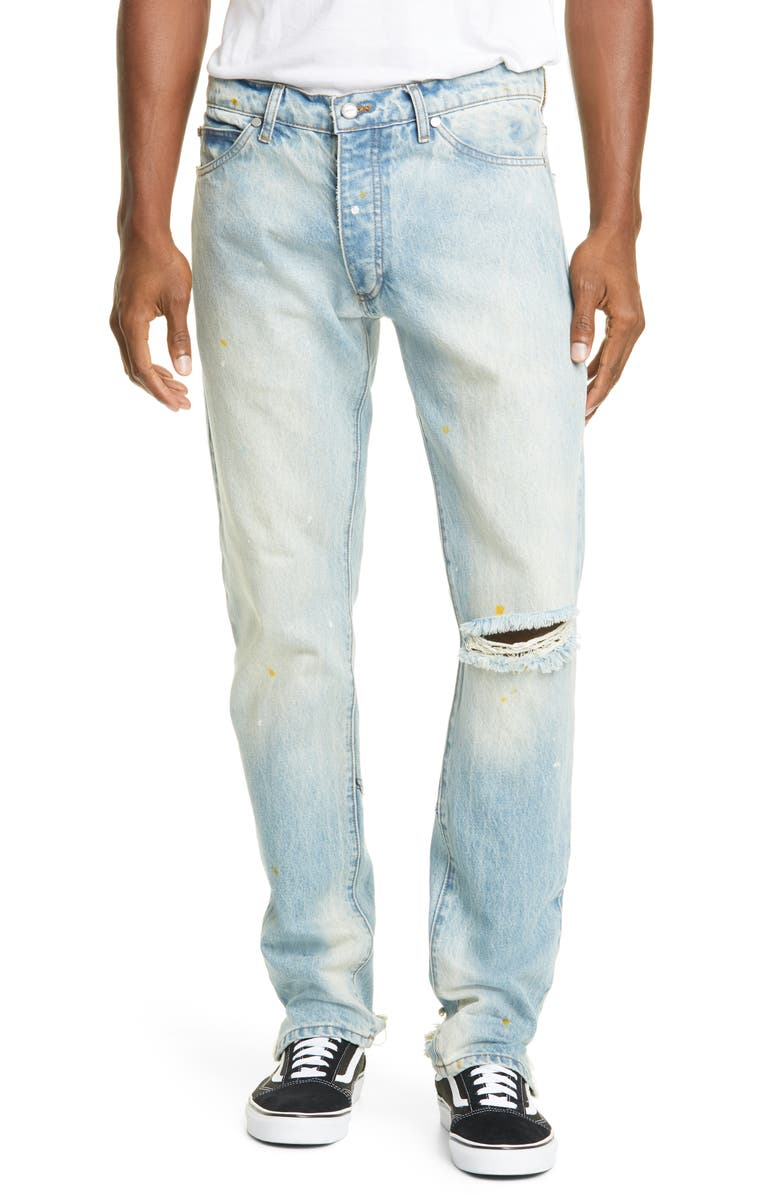 RHUDE Destroyed Jeans, Main, color, BLUE