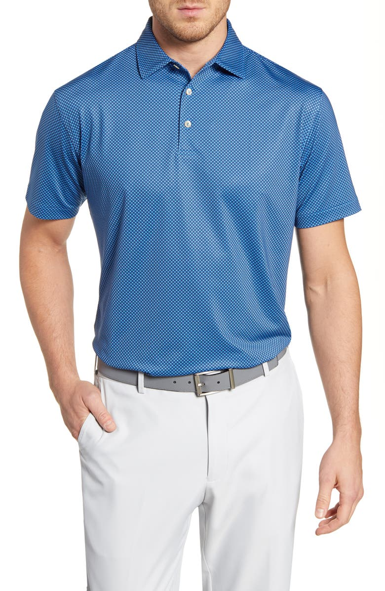 PETER MILLAR Regular Fit Windmill Print Performance Polo, Main, color, COTTAGE BLUE