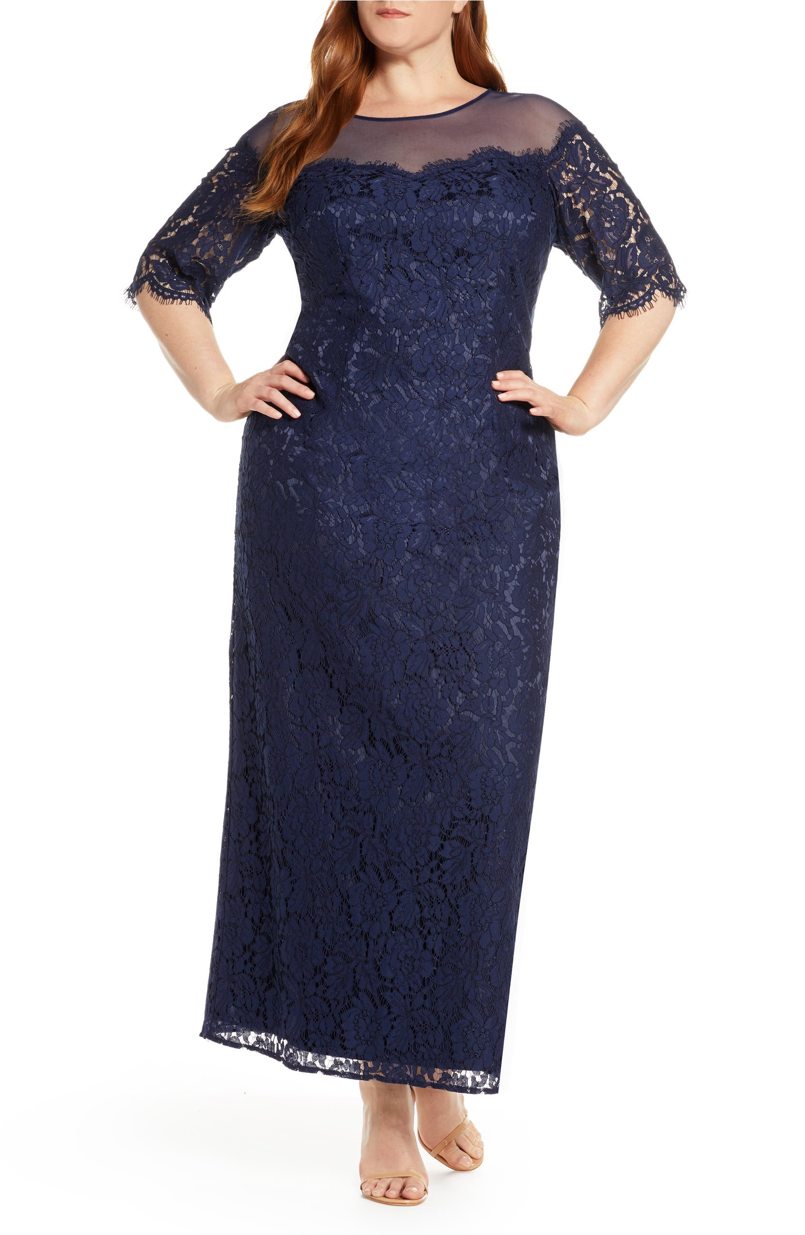 Illusion Top Lace Evening Gown