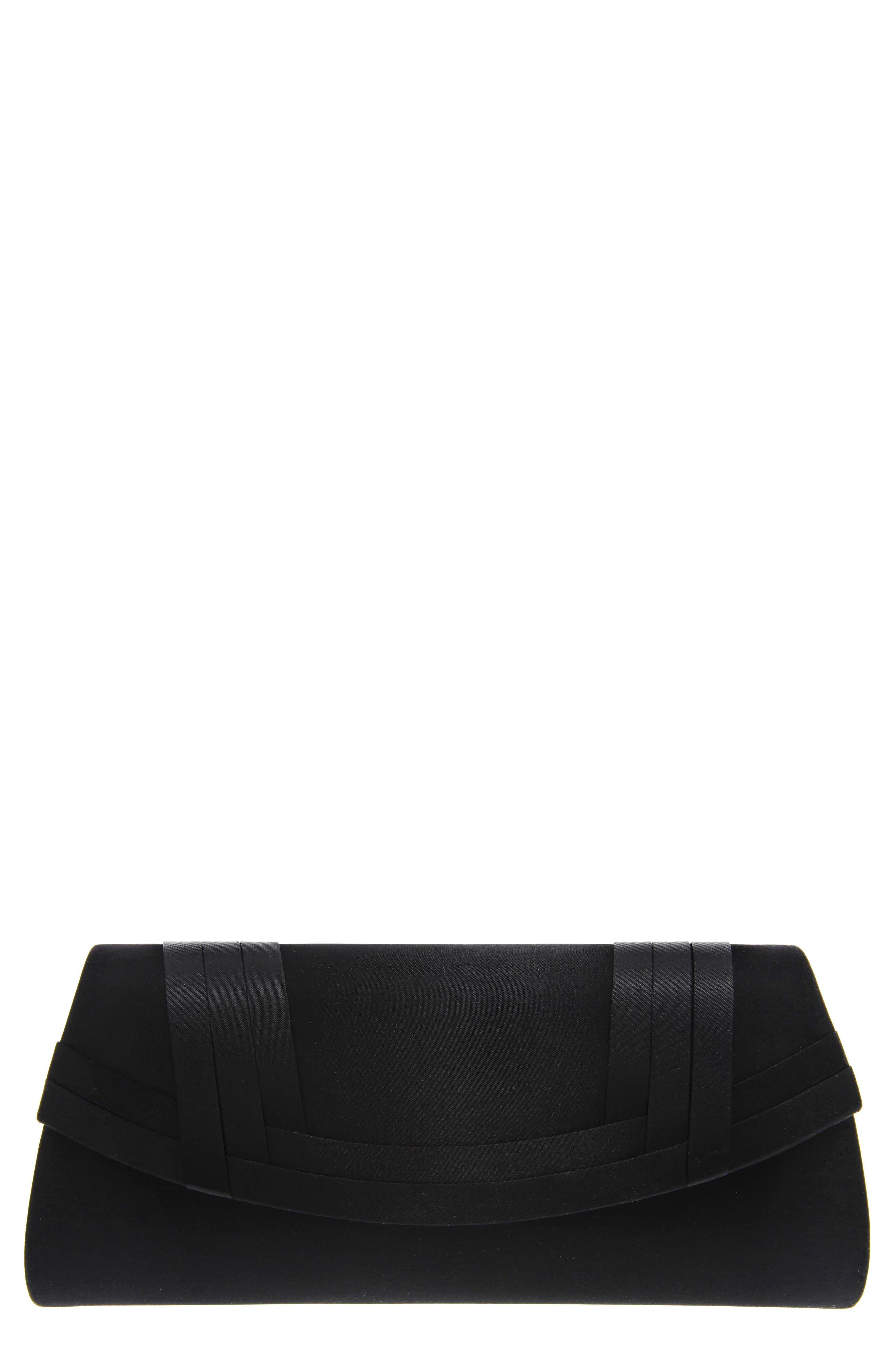 Avis Pleated Classic Clutch, Main, color, BLACK NOBLE SATIN