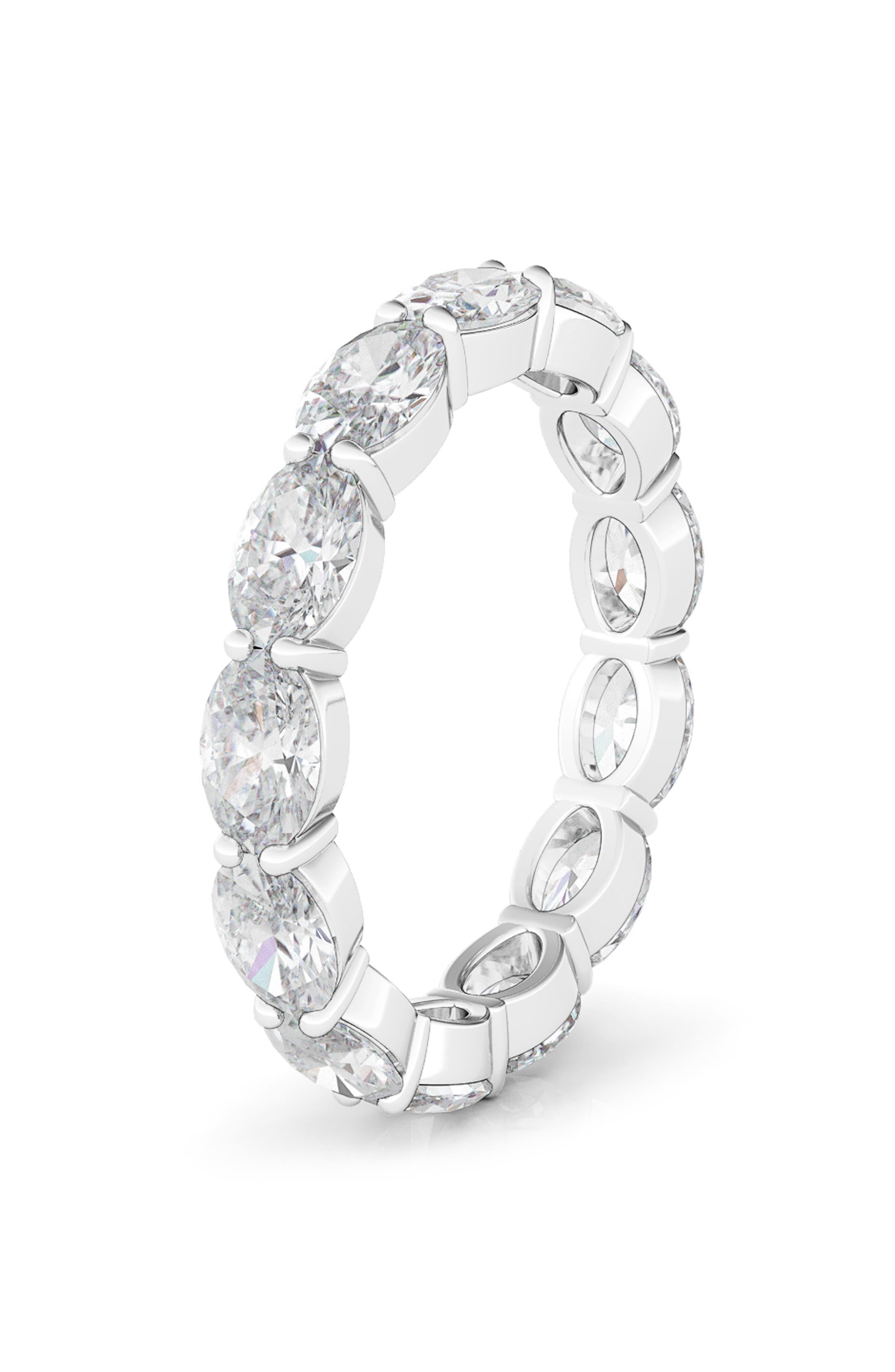 Sideways Oval Cut Diamond 14K Gold Eternity Ring