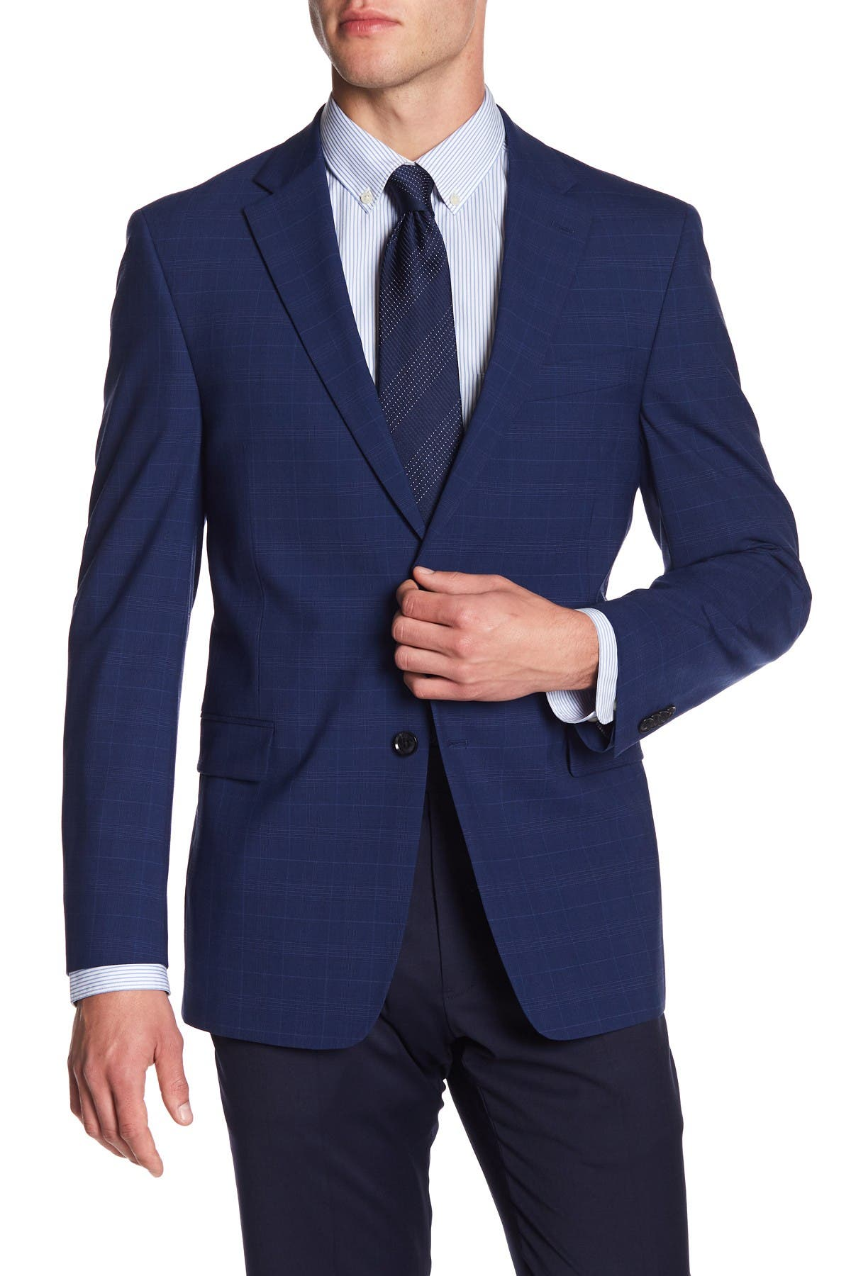 Image of Tommy Hilfiger Adams Navy Plaid Two Button Notch Lapel Suit Separates Jacket