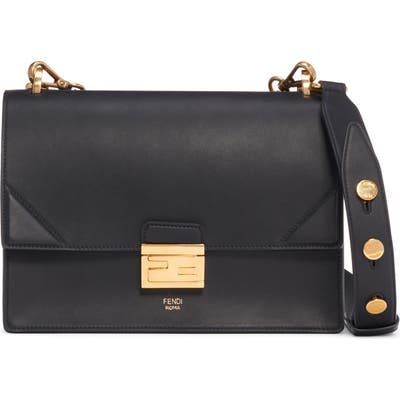 Fendi Kan I Leather Shoulder Bag - Black